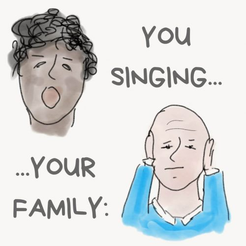 picture of a man singing out of tune and family